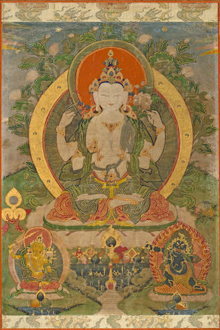 A thangka of Avalotikesvara Distemper on cloth, Bhutan, 19th century