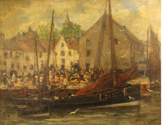 Dutch School A busy quayside scene 24 x 30in