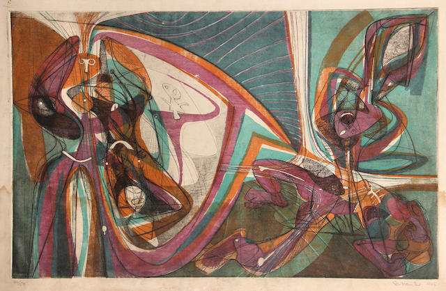 Stanley William Hayter (British, 1901-1988); Cinq Personnages;