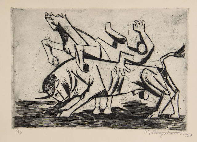 Raul Auguiano, etching;