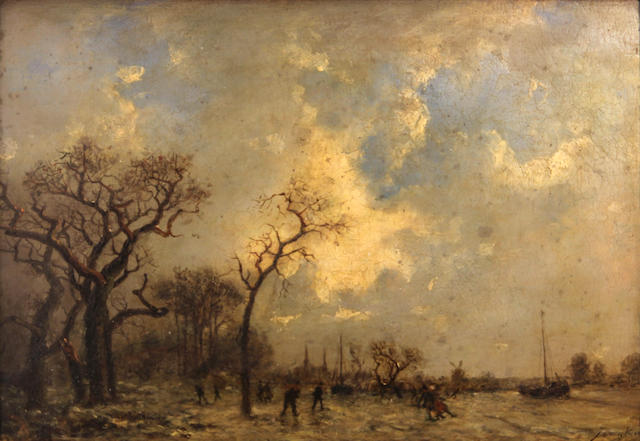 Follower of Johan Barthold Jongkind (Dutch, 1819-1891) The skaters 11 3/4 x 17 1/2in