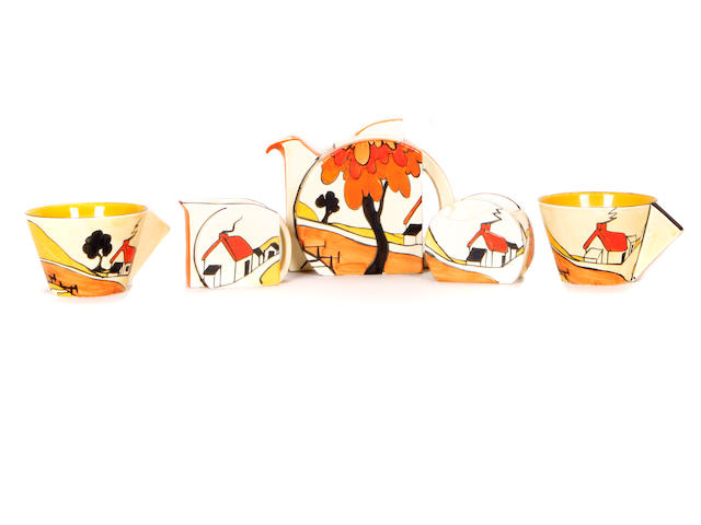 A Clarice Cliff House and Bridge tea set