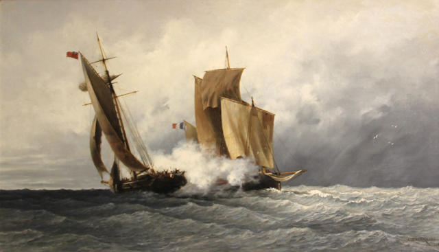 Jean Francois D' Ivernois (Swiss, 1823-1884) A naval combat 24 x 40 1/2in