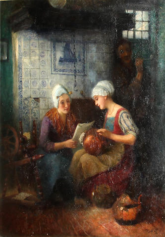 Carl Duxa (Austrian, 1871-1937) A kitchen interior with three figures 25 x 20in