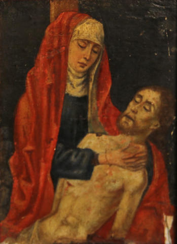 Flemish School, 18th(?) Century Pietà 7 x 5in