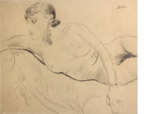 Jacob Epstein (British, 1880-1959) Reclining female nude 19 x 22in