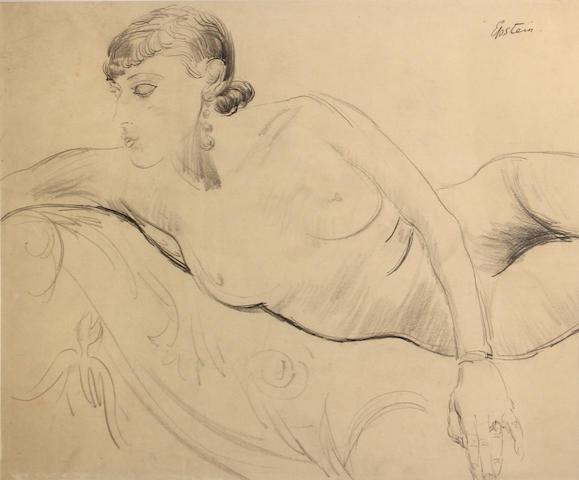 Jacob Epstein (British, 1880-1959) Reclining female nude 19 x 22in