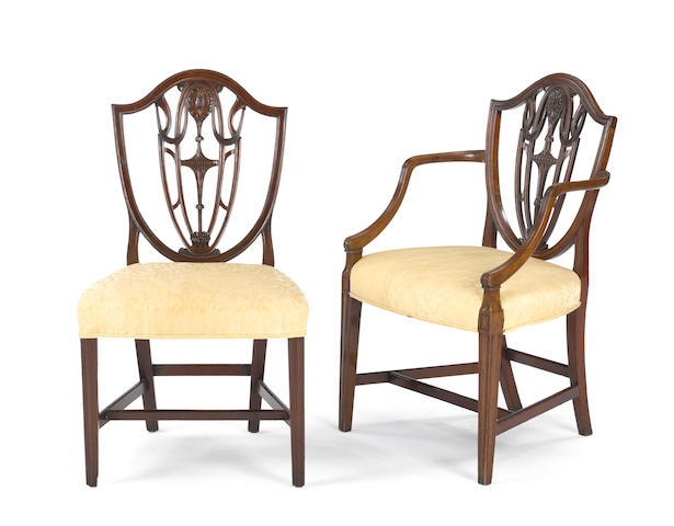 An assembled set of eight George III mahogany shield back chairs<BR />first quarter 19th century