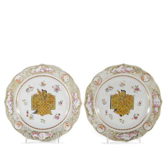 A pair of Chinese Export porcelain shaped plates 18th century