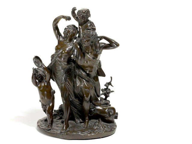 A French patinated bronze figural group