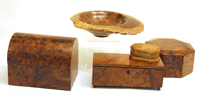 Four burl wood boxes and a bowl  late 20th century