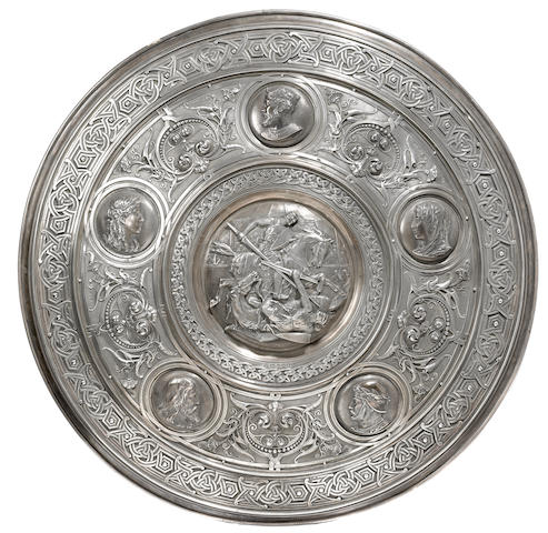 A Victorian sterling silver presentation shield, depicting scenes from Ivanhoe, Charles Frederick Hancock, London, 1883