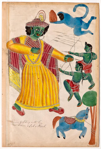 Kalighat of Rama fighting his sons Lav and Kush Wash and silver on paper, Calcutta, 19th century
