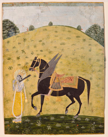 Illustration from a Vishnu Avatar series: Kalki Opaque watercolor and gold on paper, Kishangarh, Late 18th century