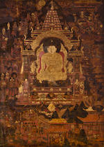 Two Tibetan Thankas of Buddha at Bodhgaya and a Sakya Lama Distemper on cloth, Tibet, 17th/18th century