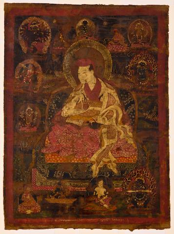 Two Tibetan Thankas (Buddha at Bodhgaya; Sakya Lama)