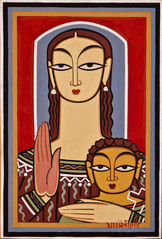 Jamini Roy (1887-1972) Mary and Jesus, circa 1960