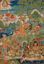 Two thangkas of arhats and directional guardians Distemper on cloth, Tibet, 18th century