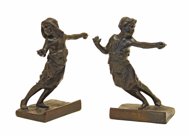 Pair of bronze figures of children