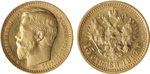 Russia, Nicholas II, 15 Roubles, 1897 Y#65.1, 12.87g