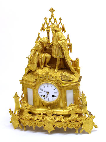 A Louis Philippe gilt bronze figural mantel clock: Joan of Arc second quarter 19th century