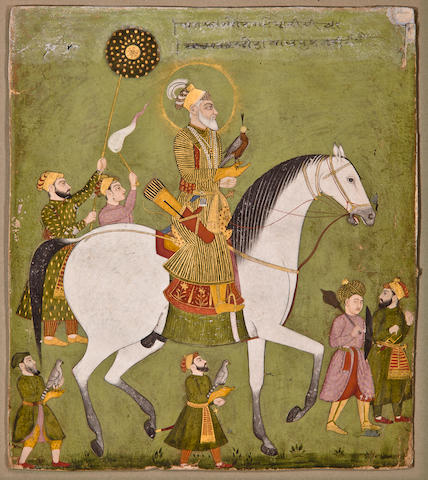Emperor Aurangzeb hawking Opaque watercolor and gold on paper, Marwar, Late 18th century
