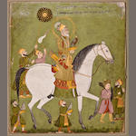 Emperor Aurangzeb hawking  Opaque watercolor and gold on paper, Rajasthan, Late 18th century