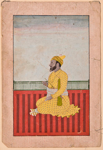 Portrait of ruler Opaque watercolor and gold on paper, Kangra or Guler, late 18th century