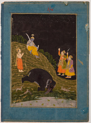 Illustration to Ragamala series: Kanada ragini Opaque watercolor and gold on paper, Late Mughal, Late 18th century