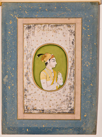 Portrait of a prince, possibly Akbar Shah II Opaque watercolor and gold on paper, Late Mughal, late 18th century
