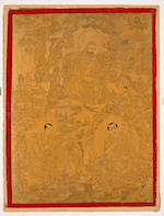 A group of Three Gold Ground Thangkas of Arhats, Tibet 19th century