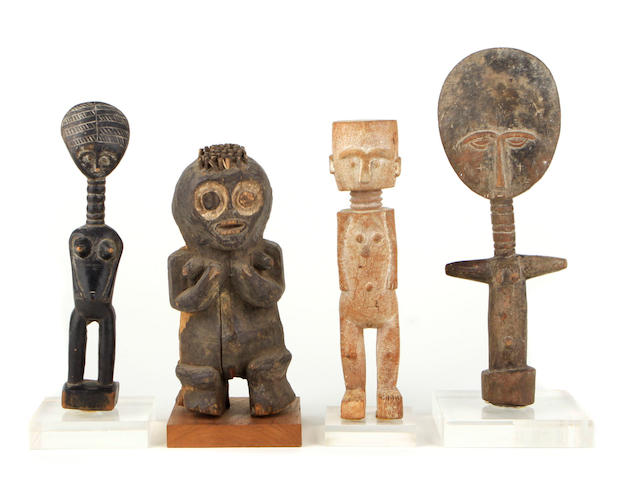 An assembled group of African dolls and figures height of largest 13in; diameter 5in