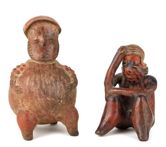 Two Pre-Columbian clay figures: A Jalisco, seated figure, 100 B.C -250 A.D. A Nayarit seated figure, Western Mexico, 100 B.C.-300 A.D. height of largest 10in; diameter 6 1/2in