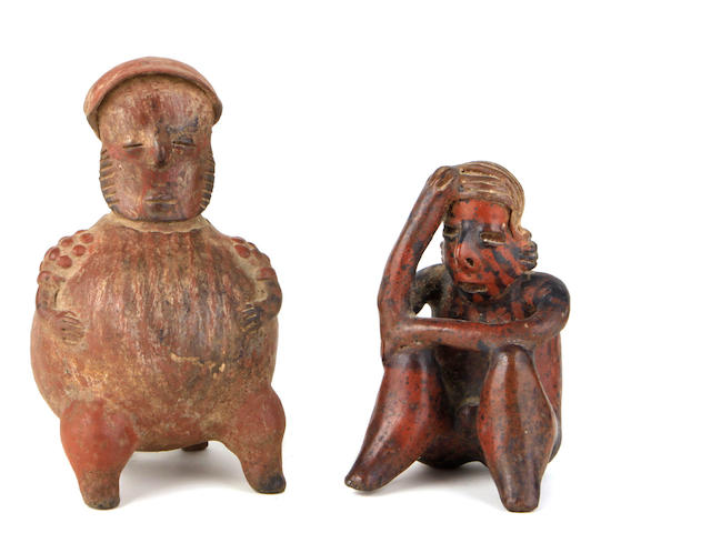 Two Pre-Columbian clay figures: A Jalisco, seated figure, 100 B.C -250 A.D. A Nayarit seated figure, Western Mexico, 100 B.C.-300 A.D.