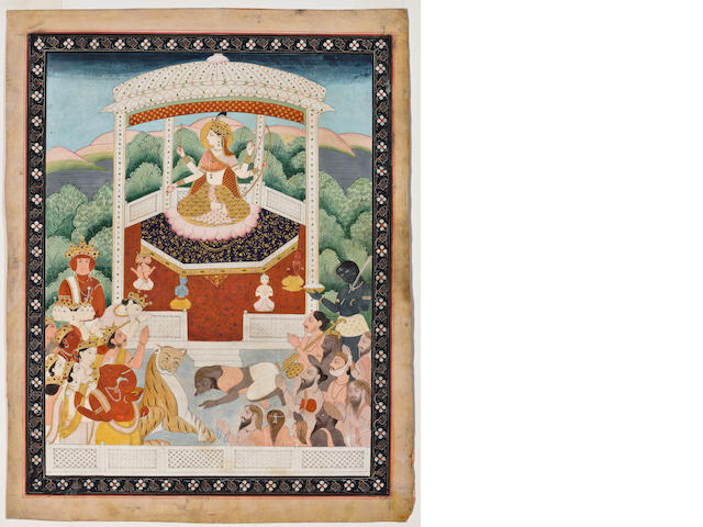 Worship of Devi opaque watercolor on paper, 19th century