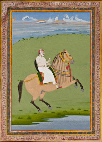 Pratap Singh of Jaipur opaque watercolor and gold on paper, 19th century