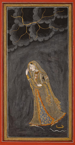 Illustration from a Nayika series; opaque watercolor and gold on paper, 19th century