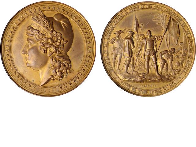 1892 E-101, GILT 90mm Liberty Head High Relief Medal AU58 World's Columbian Expo NGC