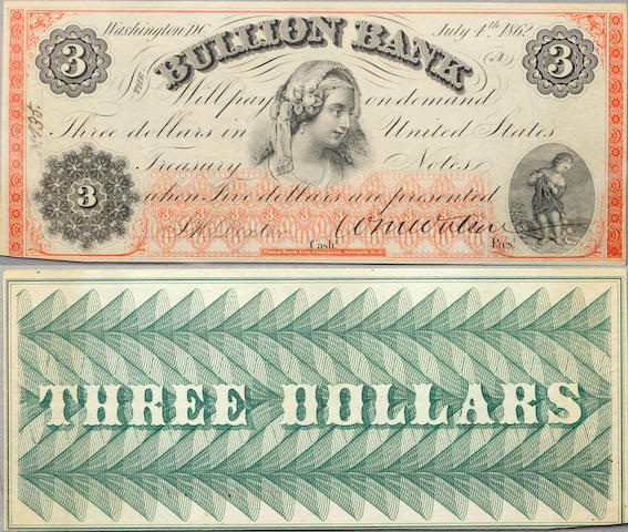 Washington, DC, The Bullion Bank $3 July 4, 1862 PMG 62 PPQ
