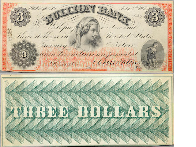 1862 $3 Bullion Bank, Washington DC Obsolete Banknote PCGS62PPQ