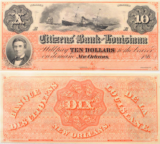1860s $10 Citizens' Bank of Louisiana, New Orleans Obsolete Banknote PCGS64PPQ