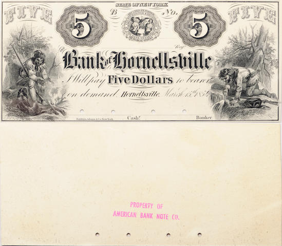 Hornellsville, NY, The Bank of Hornellsville $5 March 15, 1854 PCGS Proof 64 PPQ