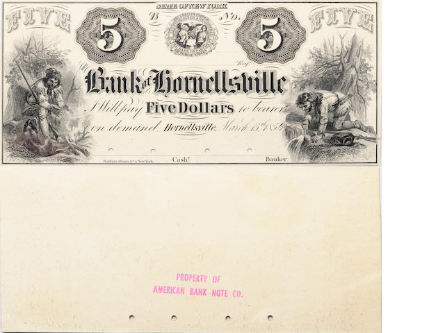 1854 $5 Bank of Hornellsville, NY Obsolete Banknote PCGS64PPQ