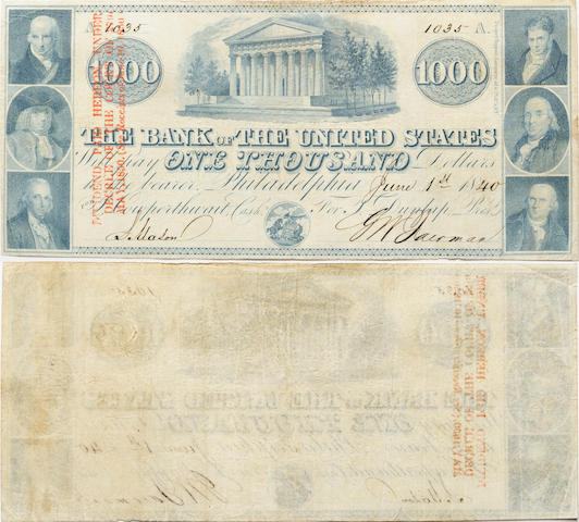 1840 $1000 The Bank of the United States
