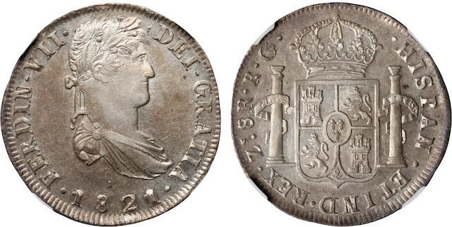 1821 ZS RG Mexico 8R Zacatecas KM-111.5 AU58 NGC