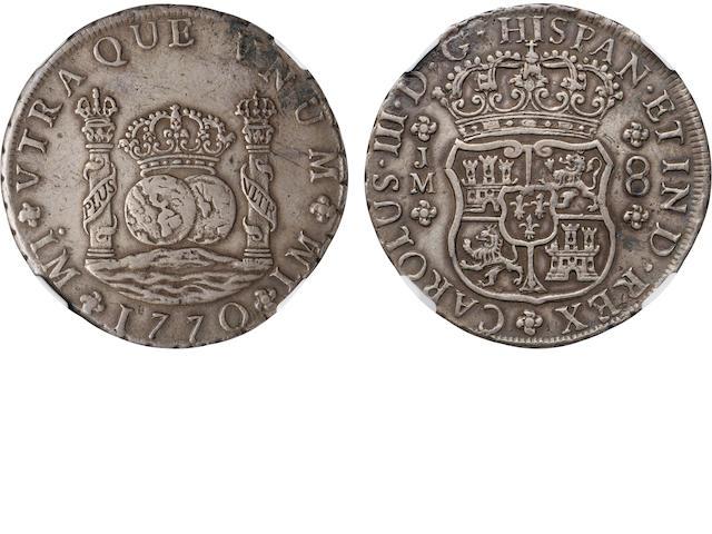 1770 LM JM Peru 8 Reales One Dot XF45 NGC