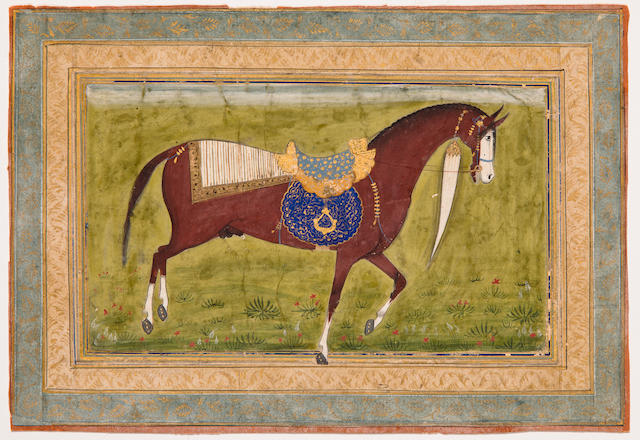 A portrait of a Persian horse  Opaque watercolor on paper, Mughal, Late 18th Century
