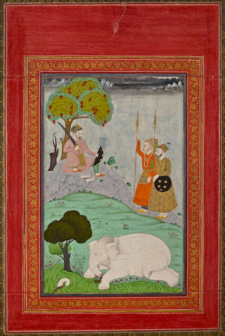 Rustam Slays The White Elephant Opaque watercolor on paper, Deccan, 19th Century