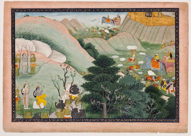 An Illustration to a Ramayana Series: Rama and Lakshmana confer with the monkey army Opaque watercolor on paper, Kangra or Guler, Late 18th century