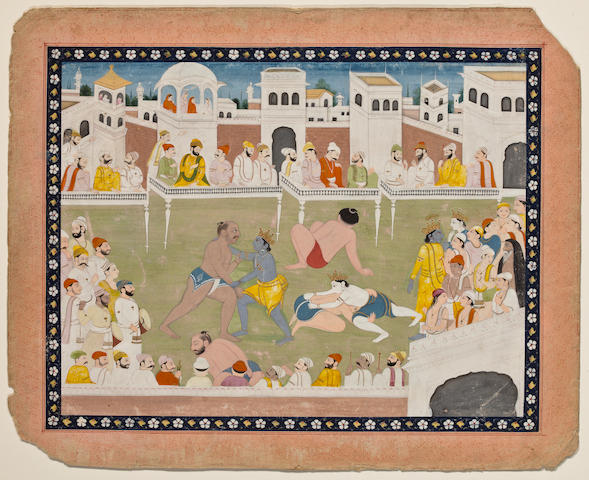 An Illustration to a Bhagavata Purana Series: Krishna and Balrama's fight with Chanura and Mushtika Opaque watercolor on paper, Chamba, Early 19th Century